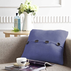 Picture of Knit Pillow with Buttons- Navy18-in