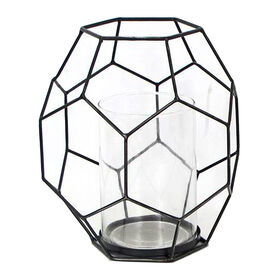Picture of 11in Black Metal Geometric Candle Holder - Large