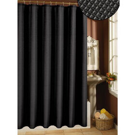 Picture of Waffle Weave Black Polyester Shower Curtain