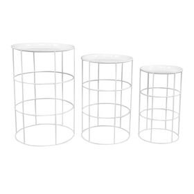 White Round Metal Drum Plant Stand- Small (Sold Separately)