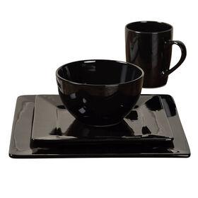 Picture of 16-Piece Square Ceramic Dinnerware Set, Black