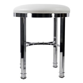 Picture of Silky Vanity Stool, Chrome and White