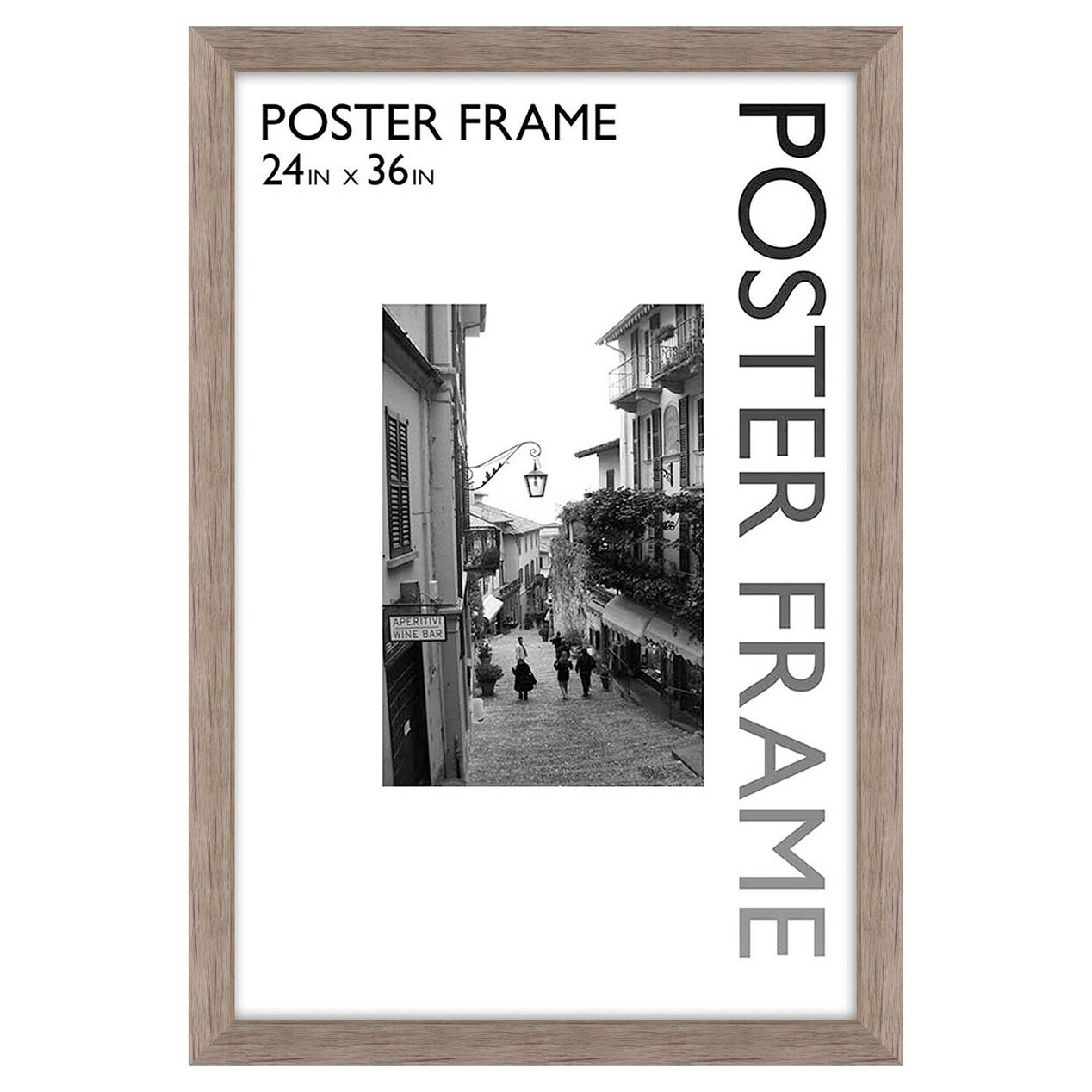 24 x 36 in gray wood grain poster frame
