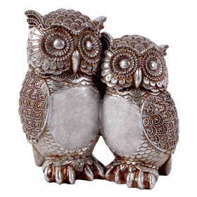 Picture of Baby and Mother Silver Capiz Owl - 7.5 in.