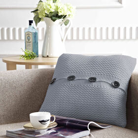 Picture of 18-in. Knit Pillow with Buttons, Gray