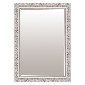 Picture of 24 X 36-in Antique White Scroll Beaded Mirror