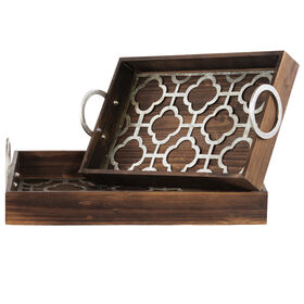 Picture of Brown Wood Quatrefoil Rectangular Tray- 17X11 in.