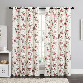 Picture of Rebecca Faux Silk Foamback Curtains- Red