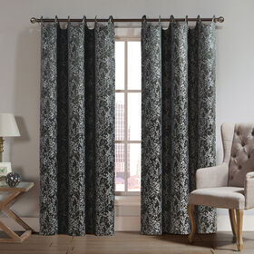 Picture of 84-in Forester Scalloped Curtains- Black with Vine Design