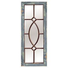 Picture of 17 x 43 Distressed Blue Barnwood Panel Mirror