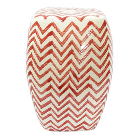 Picture of Red and White Chevron Ceramic Plant Stand