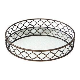 Picture of Metal Mirror Quatrefoil Tray 24-in