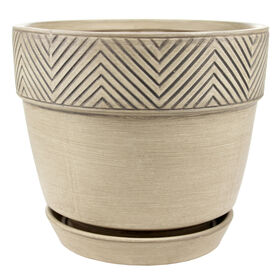 Picture of Ceramic Tribal-Weave Pot with Saucer- Tan 8-in