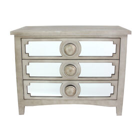 Picture of 3-Drawer Champagne Mirror Cabinet with Round Knobs