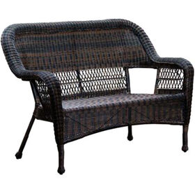 Picture of Dark Brown Wicker Outdoor Patio Bench Settee