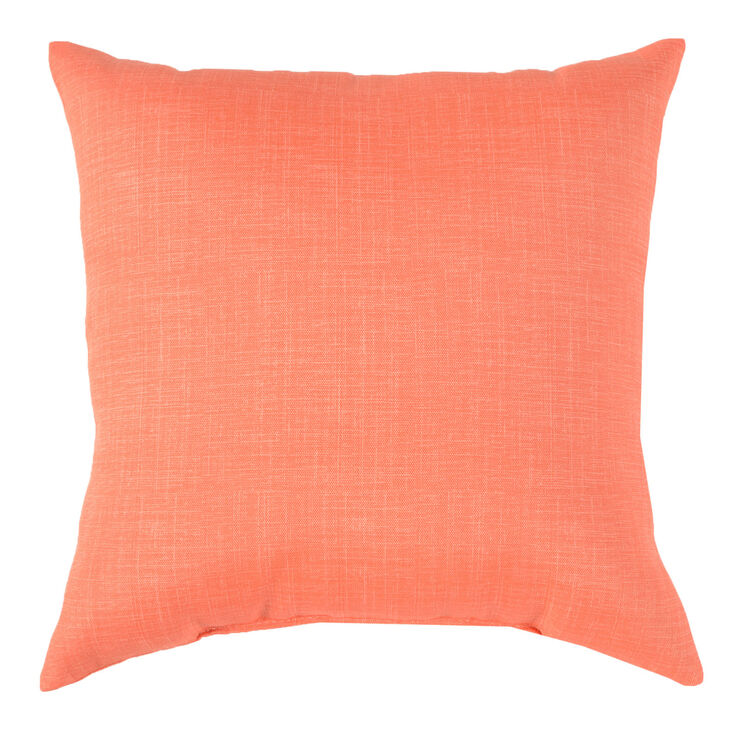 Tropical Linen Coral Square Pillow