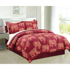 Picture of Red and Gold Yesmin Bed in a Bag Set Queen