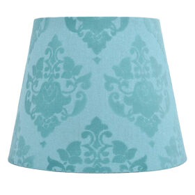 Picture of Flocked Blue Damask Lamp Shade 7X10X8