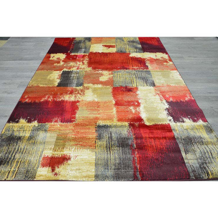 B148 Red Blocks Rug- 5x7 ft