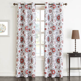 Picture of Coral Print Window Curtain Panel 84-in