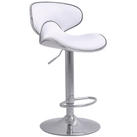 Picture of Duo Adjustable Leather Barstool - White