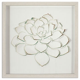 3D White Succulent under Glass- 18 x 18-in