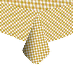 Picture of Gold Plaid Vinyl Tablecloth