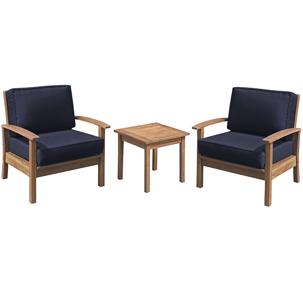 Outdoor wood chair furniture - Kingston 3 Piece Wood Chair And Table Set