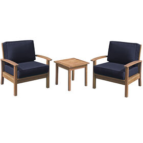 Kingston 3 Piece Wood Chair and Table Set