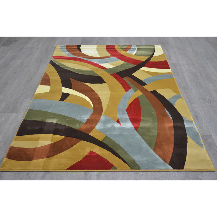 B48 Multicolor Ribbons Rug- 5x7 ft