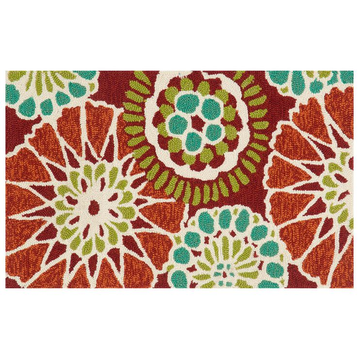 E160 Red and Teal Accent Rug- 18x30 in.