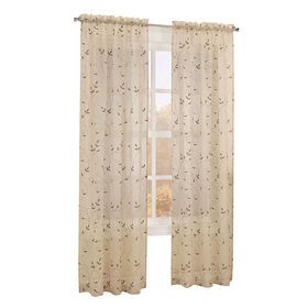 Picture of Antique Scroll Viole Window Curtain Panel 84-in