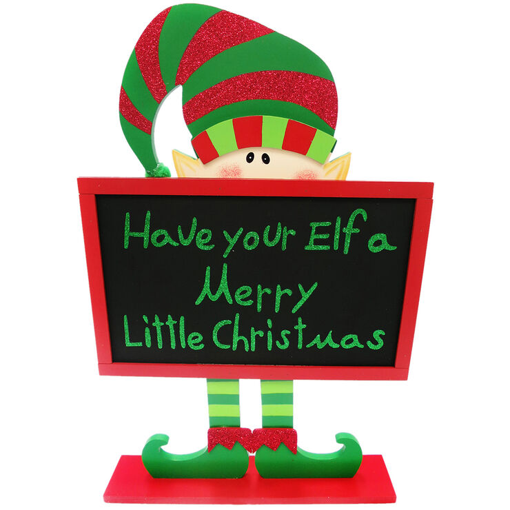 18-in elf chalkboard christmas sign