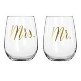 Picture of SET/2 MR/MRS STEMLESS WINE GLS