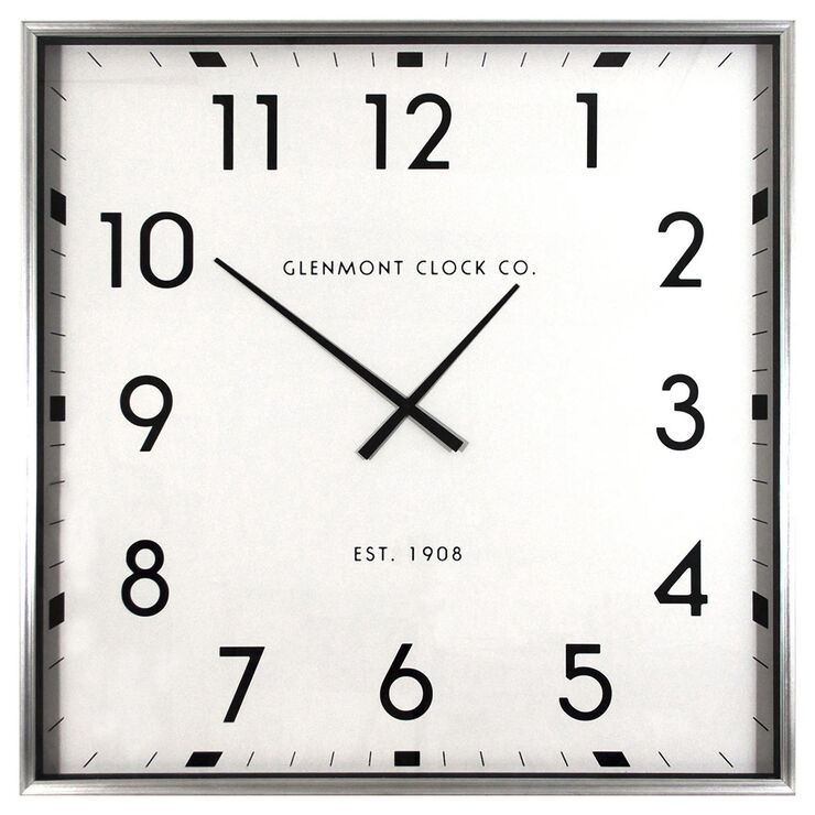 Glenmont Chrome Contemporary Clock, 40-in.