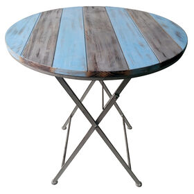 Picture of Wood Top Folding Table - Spa Blue & Grey, 27.5 in