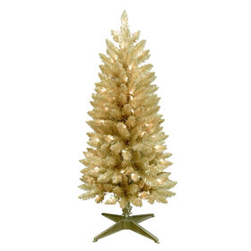 Picture of F7 4 ft Pre-Lit Champagne Christmas Tree with 70 Clear Lights