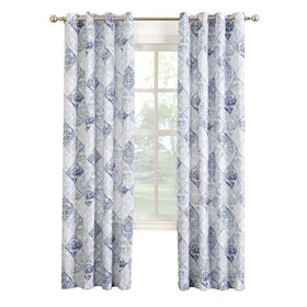 Picture of Aqua Rana Print Window Curtain Panel 84-in