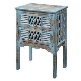 Picture of 2-Drawer Antique Shutter Table, Blue