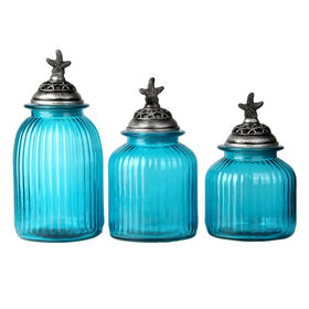 Picture of Oblu Glass Canister with Starfish Lid - Set of 3