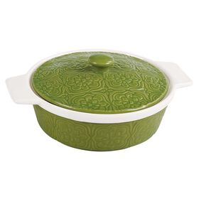 Picture of Green and White Embossed Covered Casserole Dish- 2.4 Quart