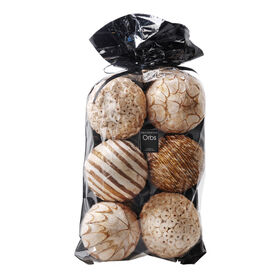 Picture of White Wood Décor Orbs in Bag