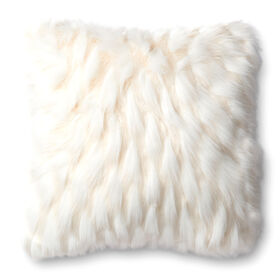 Picture of White & Cream Faux Fur Pillow- 20-in