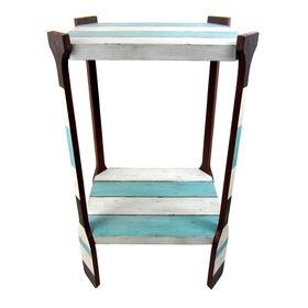 Picture of Blue and White Stripped Wood Table 23 X 21