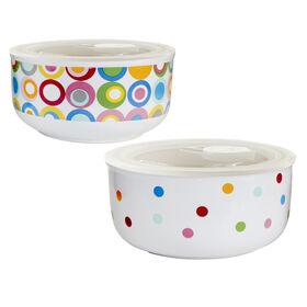 Picture of Soup Bowls with Lids - Dots Design