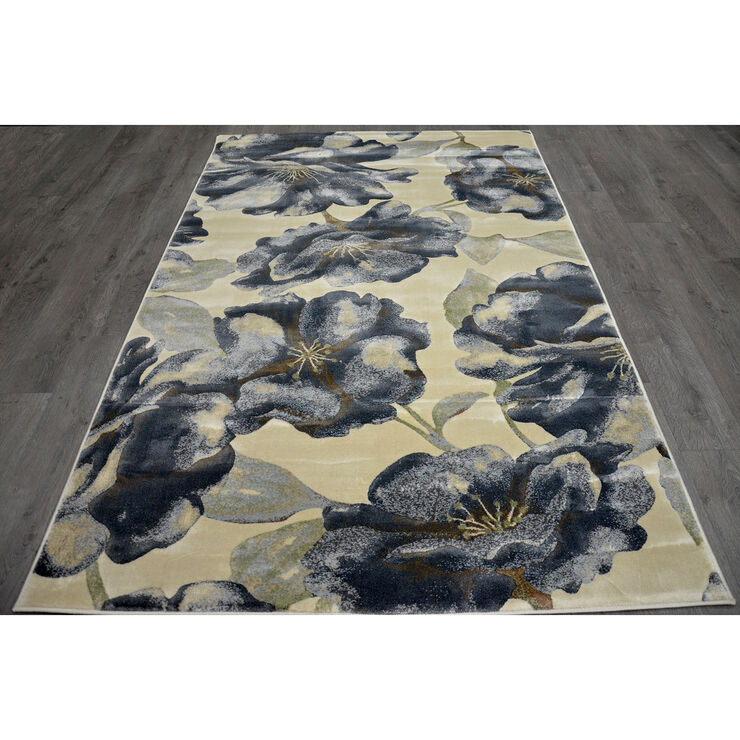 Cream and Grey Floral Newbury Rug- 8x10 ft