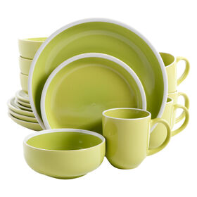 Green Orfinio Round Dinnerware 16 Piece Set