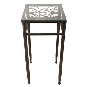 Picture of Glass-Top Metal Plant Stand 12x27-in