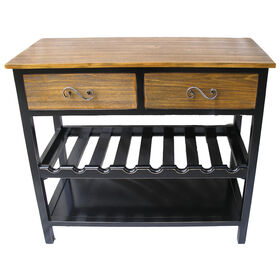 Picture of 2-Drawer Wooden Wine Table- 36-in.
