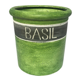 6IN CLAY HERB POT BASIL SML